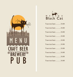 menu for beer pub with a black cat in an old town vector image