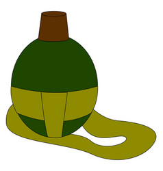 military green flask on white background vector image