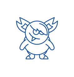 monster line icon concept monster flat vector image