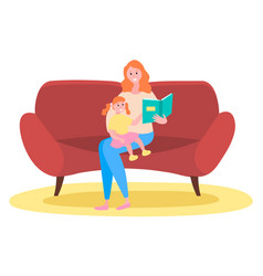 mother is reading a story to her child happy vector image