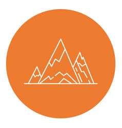mountain peaks icon in thin line style vector image