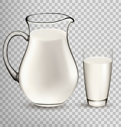 Natural Whole Milk In Jug And Glass isolated On vector