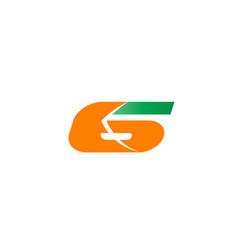 number 6 logo logotype design vector image
