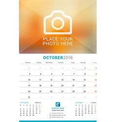 October 2016 Wall Monthly Calendar for 2016 Year vector