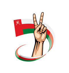Oman flag and hand on white background vector