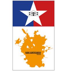 orange silhouette map san antonio with flag vector image