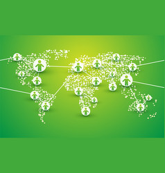 people symbol connection on green bio world map vector image