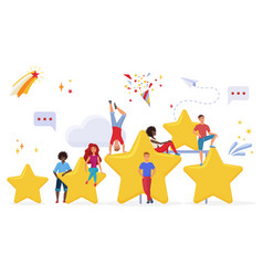 people with golden cartoon stars flat vector image