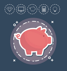 Piggy bank fintech investment financial internet vector