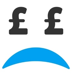 Pound Bankrupt Sad Emotion Flat Icon Symbol vector image
