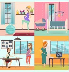 Pregnancy icon set vector