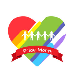 pride month red ribbon rainbow heart background ve vector image