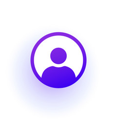 Purple user icon in circle a solid gradient vector