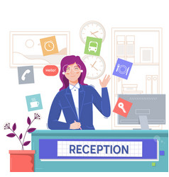 reception service hotelsmiling girl sitting at vector image