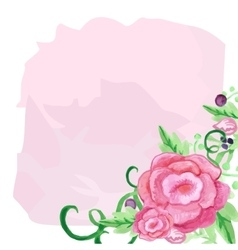 rose watercolor flower and leaves bouquet vector image