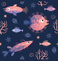 seamless pattern with fishes fish vector image