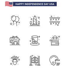 Set 9 usa day icons american symbols vector