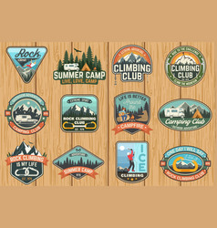 Set of rock climbing club and summer camp badges vector