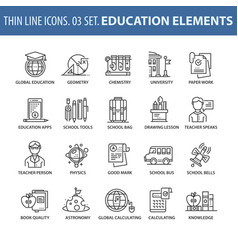 set of thin line flat icons education vector image