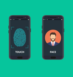 smartphone with a face recognition vector image