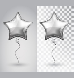 Star silver balloon on transparent background vector