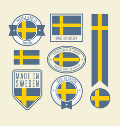 stickers tags and labels with sweden flag - badges vector image