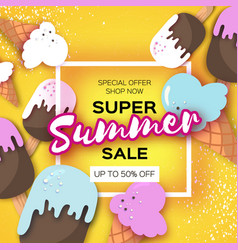 super summer sale with ice-cream cones in paper vector image