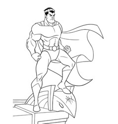 superhero watching from roof line art vector image