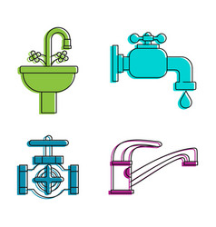 tap icon set color outline style vector image