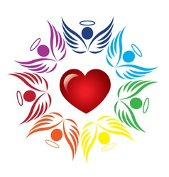Teamwork angels around heart logo vector image
