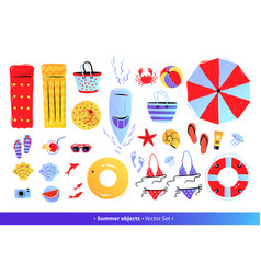 Top view set with summer accessories vector