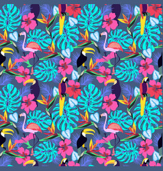 Tropical plants and flowers with toucan parrot vector