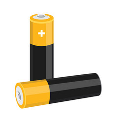two aa size batteries isolated on white vector image