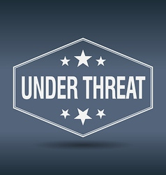 Under threat hexagonal white vintage retro style vector