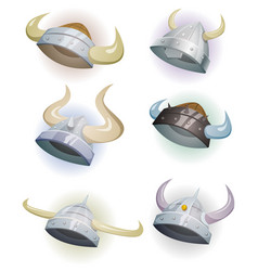 Viking helmet set vector