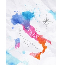 Watercolor map italy pink blue vector