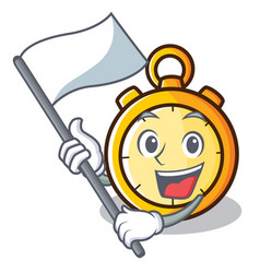 With flag chronometer character cartoon style vector