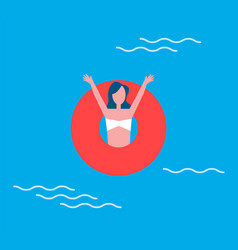 Woman lifelifeline swimming vector