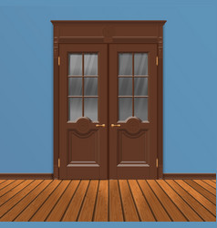 wooden double entrance door vector image