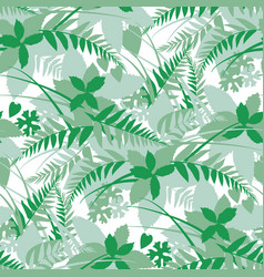 woods forest leaves silhouette seamless pattern vector image