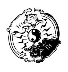 yin yang cats vector image