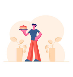 Young man holding tray with cake presenting home vector