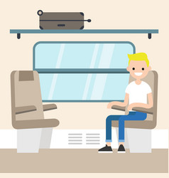 young passenger sitting in the train compartment vector image