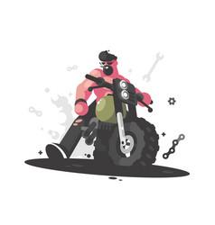 biker on motorcycle vector image