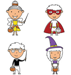 happy boys and girls in halloween costumes vector image vector image
