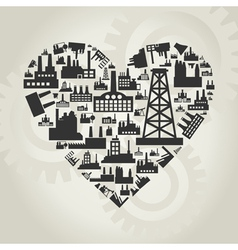 Industries of heart vector image vector image