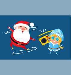 modern santa claus and snow maiden music recorder vector image
