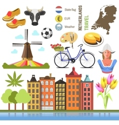 Netherland flat icons design travel concept vector