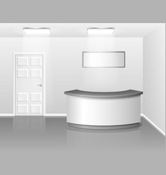 office or hotel interior with reception or vector image
