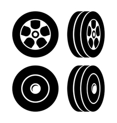Tires Icons Set on White Background vector image